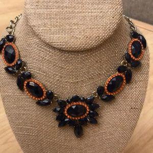 J. Crew statement necklace in black & orange